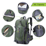 Unisex 40L Water-Resistant Outdoors Backpack - Capacity