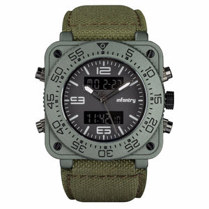 Men's LED Square Dual Movement Nylon Watch from Focus Tactical