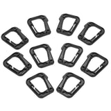10-Pack Multipurpose D-Ring Locking Hook - Black
