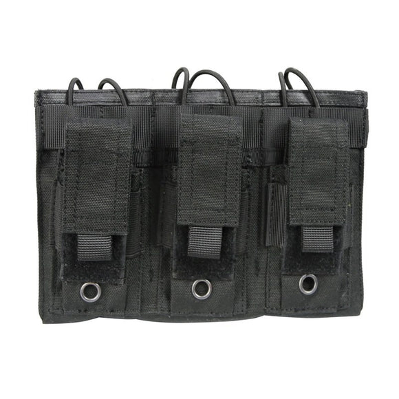 Tactical MOLLE Triple Open-Top Magazine Pouch - Black