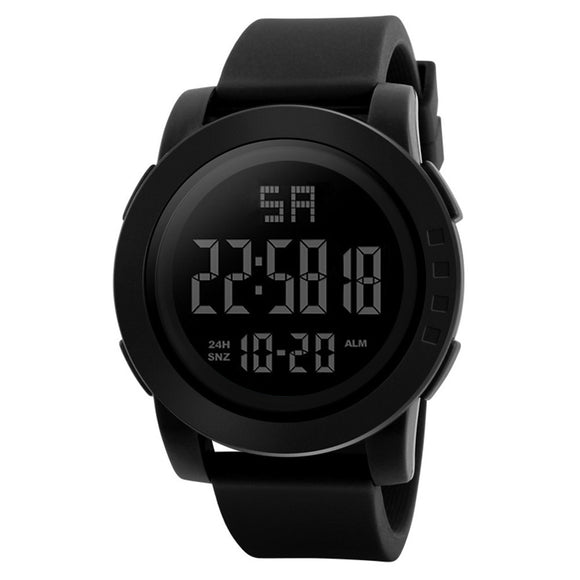 Focus Tactical Digital Men's LED Water Resistant Watch - Black