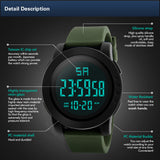 Focus Tactical Digital Men's LED Water Resistant Watch - Features