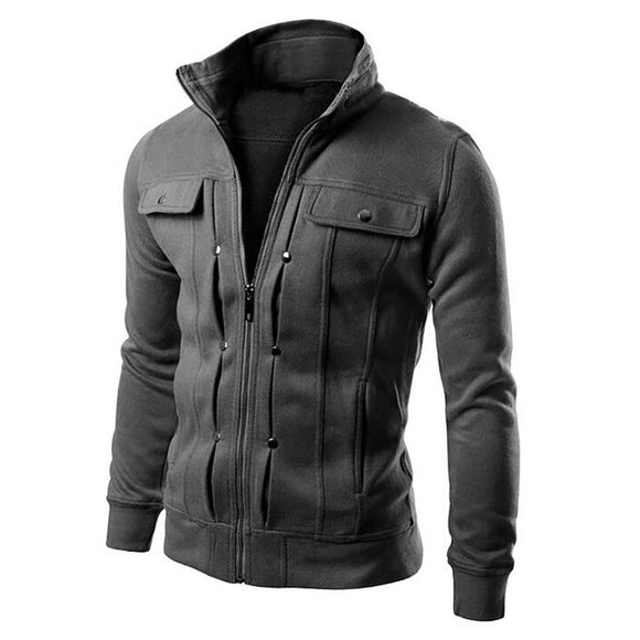 Mens Slim Fit Stand Collar Cotton Jacket from Focus Tactical - Dark Grey