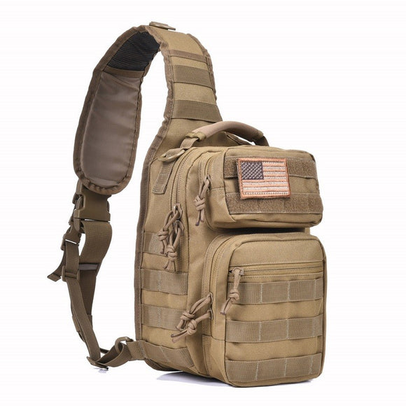 Small Military Rover Shoulder Sling Day Pack from Focus Tactical - Tan