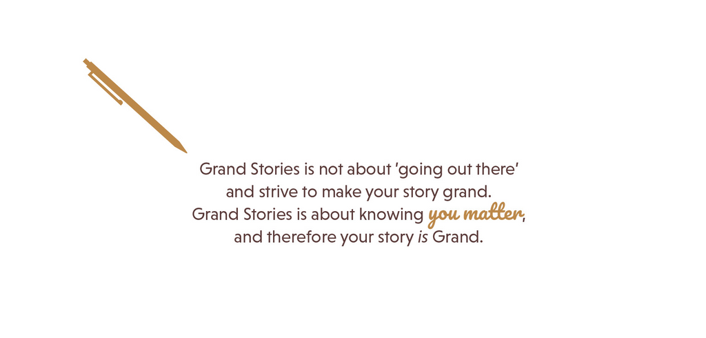Text about what Grand Stories Design is about