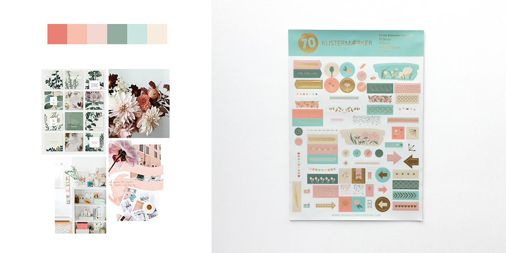 Planner stickers for decorating in mint and blush