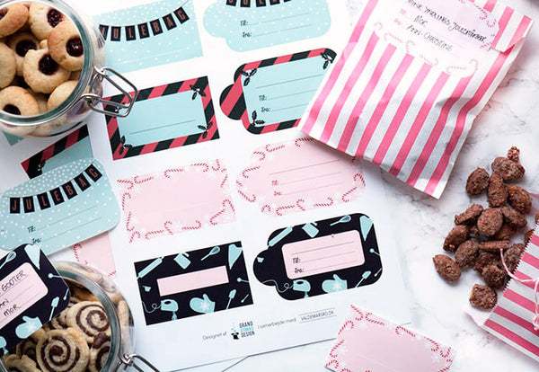 Free printable gift tags created by grand Stories design and valdemarsro.dk