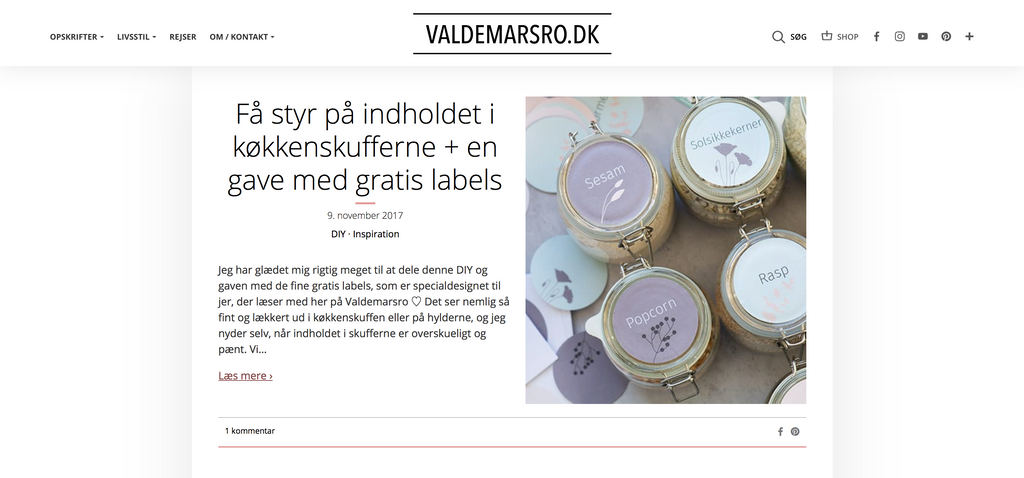 Collaboration between valdemarsro and grand stories design free printable kitchen jar labels