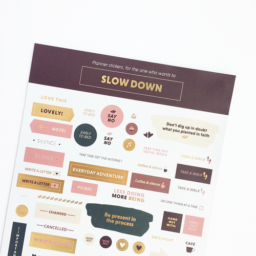 Calendar Stickers - For the one who wants to Slow Down