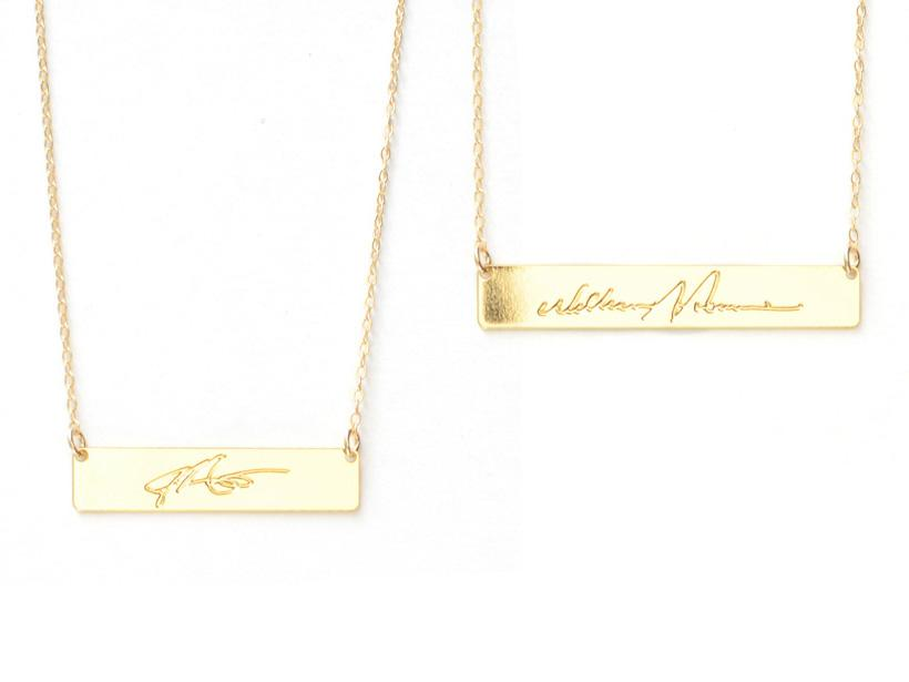 Bar Signature Necklace - Brevity Jewelry - Made in USA - Affordable Gold and Silver Jewelry