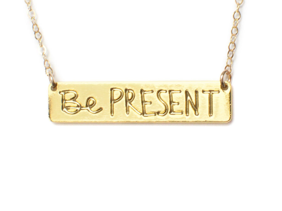 Be Present Necklace - Brevity Jewelry - Made in USA - Affordable Gold and Silver Jewelry