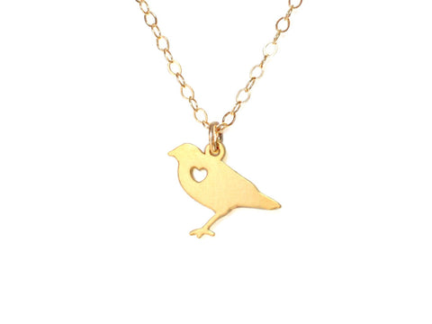 Bird Love Necklace - Brevity Jewelry - Made in USA - Affordable Gold and Silver Jewelry