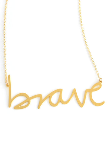 Brave Necklace - Brevity Jewelry - Made in USA - Affordable Gold and Silver Jewelry