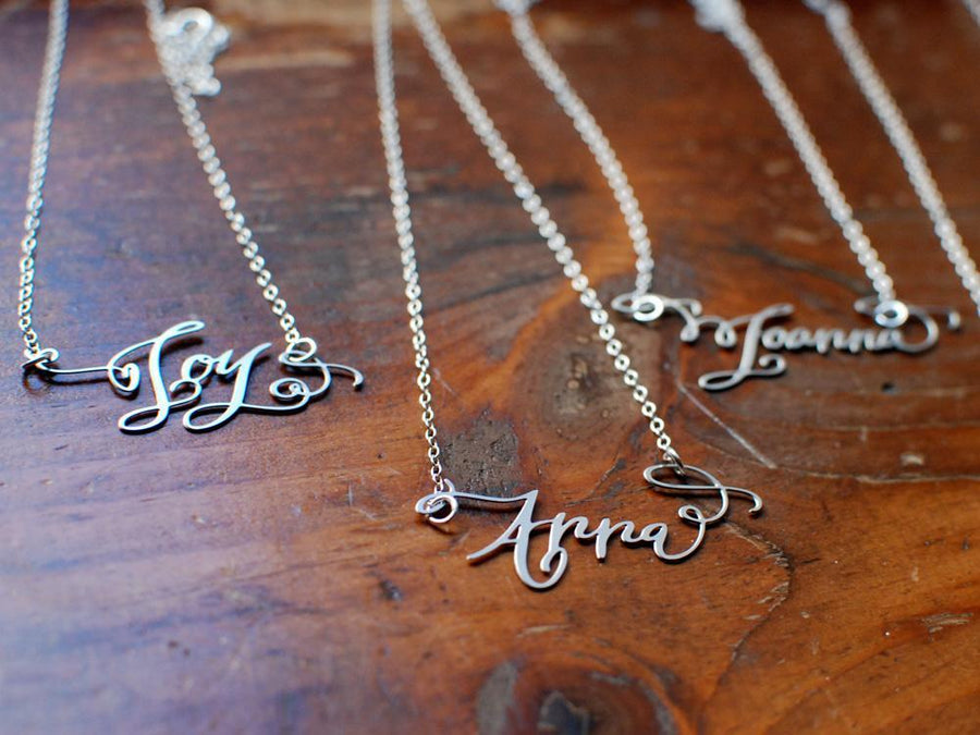 Calligraphy Necklace - One Name Necklace - Brevity Jewelry - Made in USA - Affordable Gold and Silver Jewelry