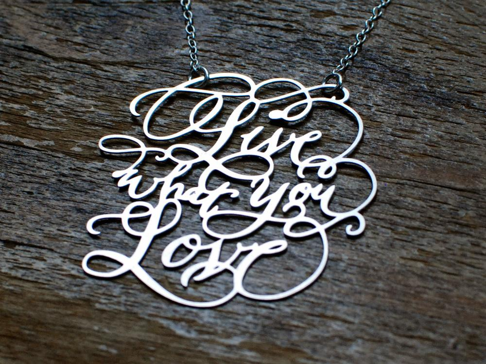 Calligraphy Necklace - Custom Phrase