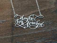 Calligraphy Necklace - Custom Phrase Necklace - Brevity Jewelry - Made in USA - Affordable Gold and Silver Jewelry