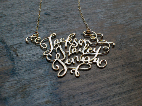 Calligraphy Necklace - Three Names Necklace - Brevity Jewelry - Made in USA - Affordable Gold and Silver Jewelry