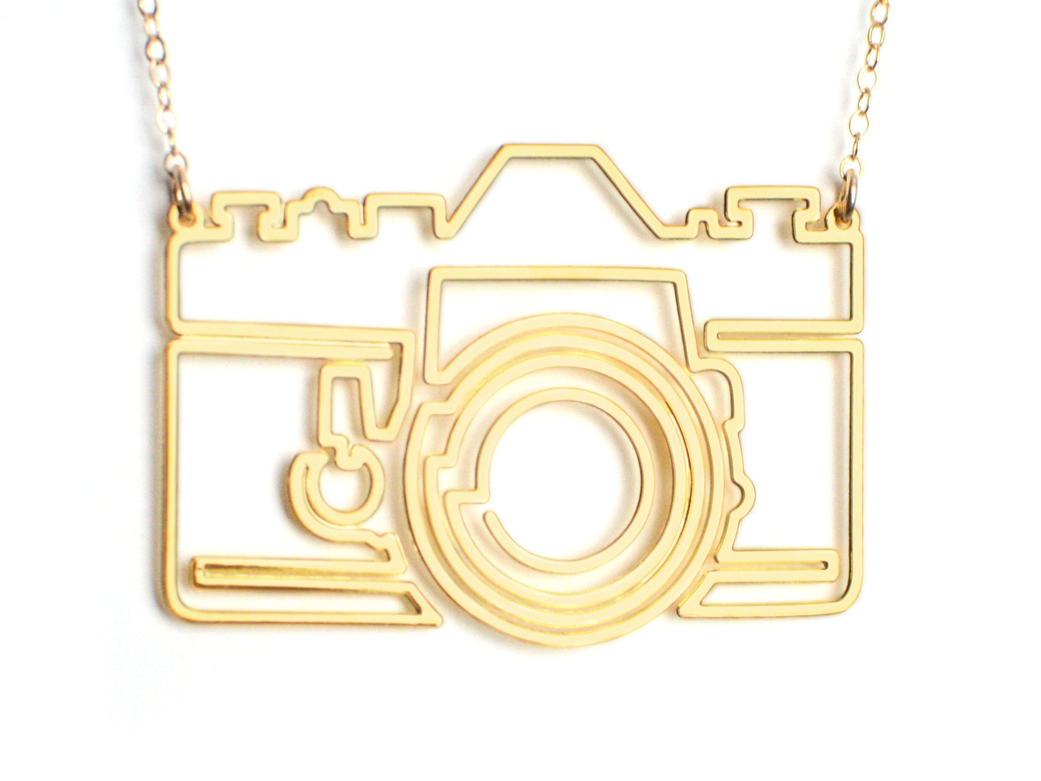 Photo Camera Necklace - Brevity Jewelry - Made in USA - Affordable Gold and Silver Jewelry
