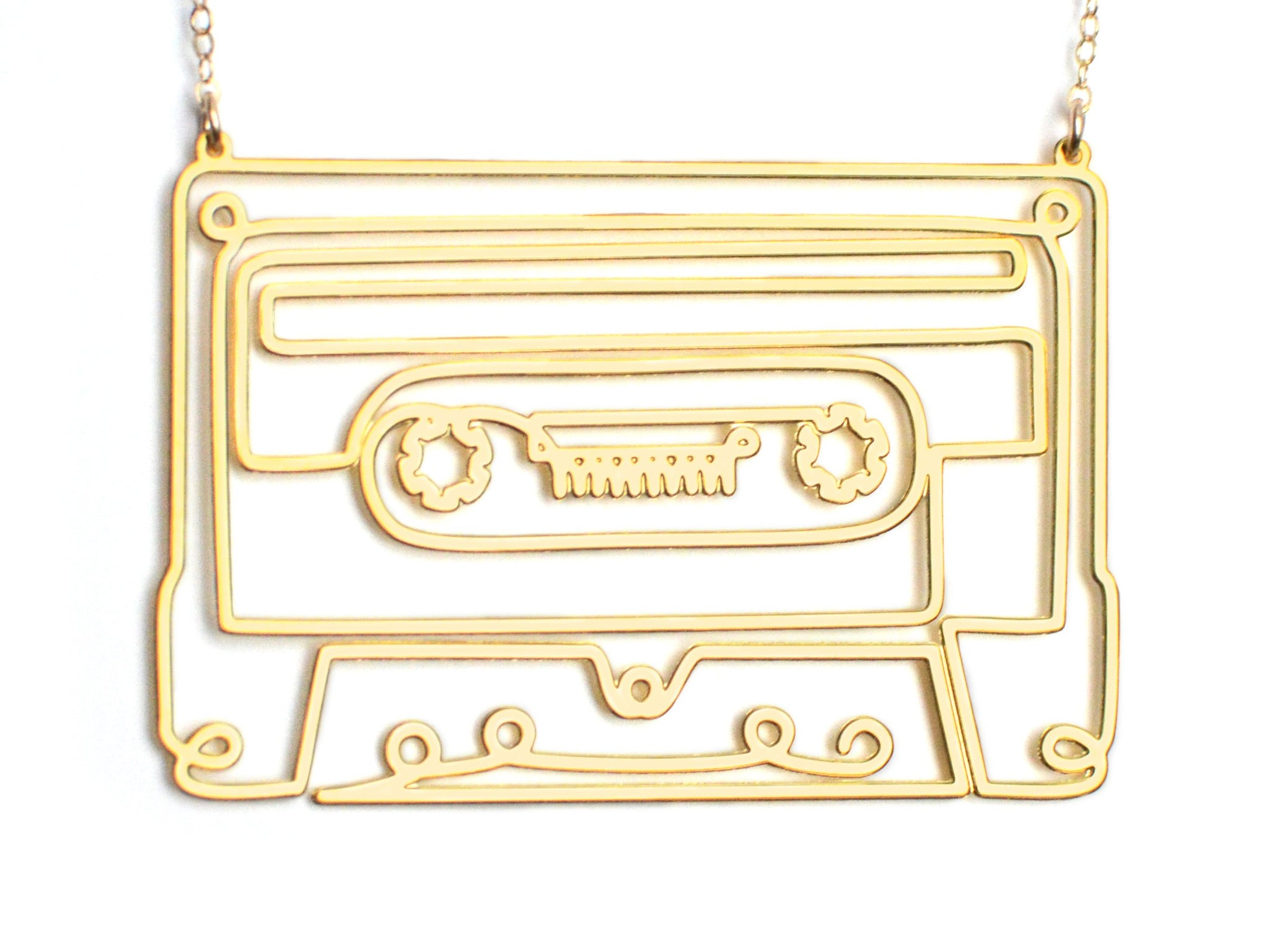 Cassette Tape Necklace - Brevity Jewelry - Made in USA - Affordable Gold and Silver Jewelry