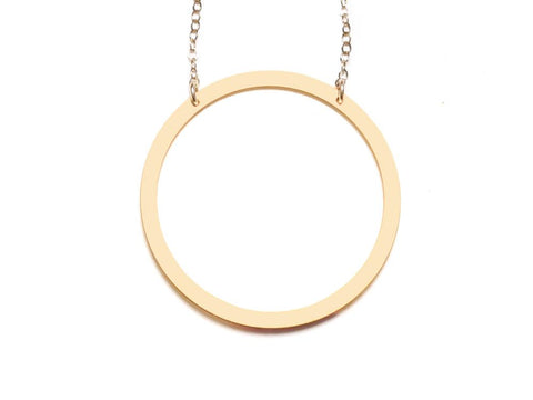Circle - Large Necklace - Brevity Jewelry - Made in USA - Affordable Gold and Silver Jewelry
