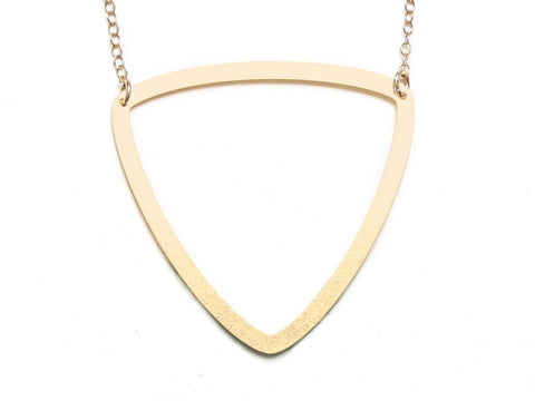 Curvilinear Triangle - Large Necklace - Brevity Jewelry - Made in USA - Affordable Gold and Silver Jewelry