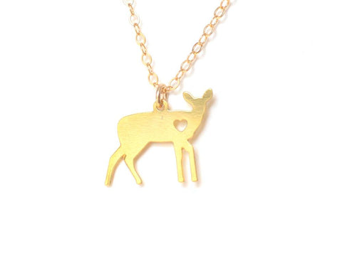 Deer Love Necklace - Brevity Jewelry - Made in USA - Affordable Gold and Silver Jewelry