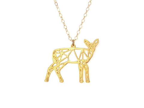 Deer Necklace - Brevity Jewelry - Made in USA - Affordable Gold and Silver Jewelry