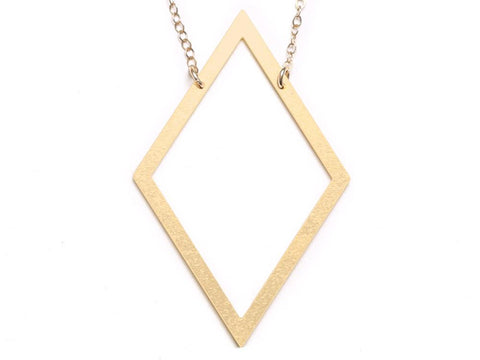 Diamond - Large Necklace - Brevity Jewelry - Made in USA - Affordable Gold and Silver Jewelry