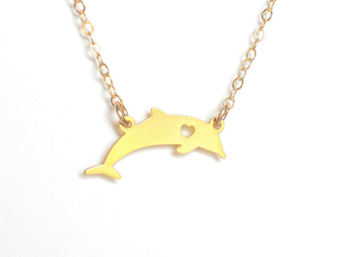 Dolphin Love Necklace - Brevity Jewelry - Made in USA - Affordable Gold and Silver Jewelry