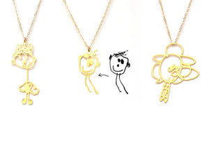 Drawing Necklace Necklace - Brevity Jewelry - Made in USA - Affordable Gold and Silver Jewelry