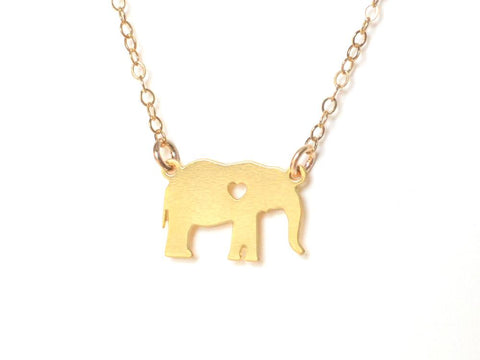Elephant Love Necklace - Brevity Jewelry - Made in USA - Affordable Gold and Silver Jewelry