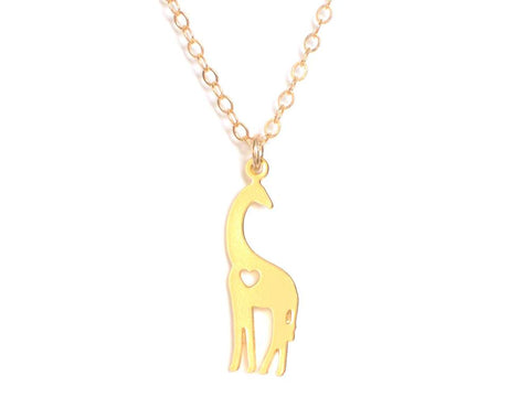 Giraffe Love Necklace - Brevity Jewelry - Made in USA - Affordable Gold and Silver Jewelry