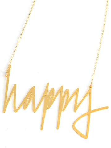 Happy Necklace - Brevity Jewelry - Made in USA - Affordable Gold and Silver Jewelry