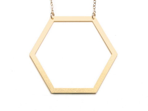 Hexagon - Large Necklace - Brevity Jewelry - Made in USA - Affordable Gold and Silver Jewelry