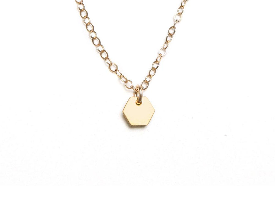 Hexagon - Small Necklace - Brevity Jewelry - Made in USA - Affordable Gold and Silver Jewelry