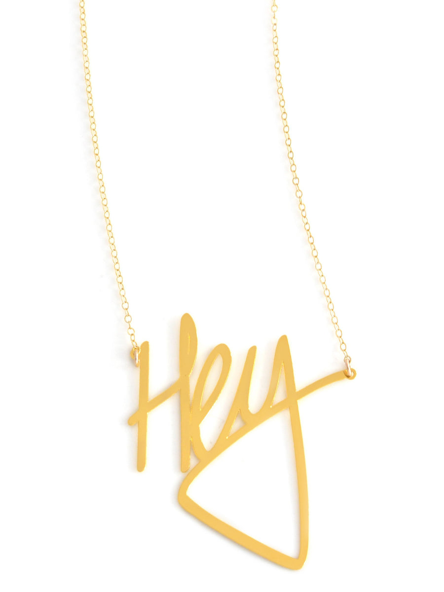 Hey Necklace - Brevity Jewelry - Made in USA - Affordable Gold and Silver Jewelry