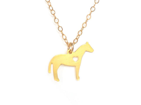Horse Love Necklace - Brevity Jewelry - Made in USA - Affordable Gold and Silver Jewelry