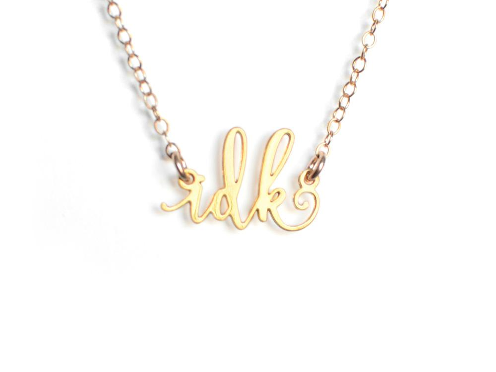 IDK Necklace - Brevity Jewelry - Made in USA - Affordable Gold and Silver Jewelry