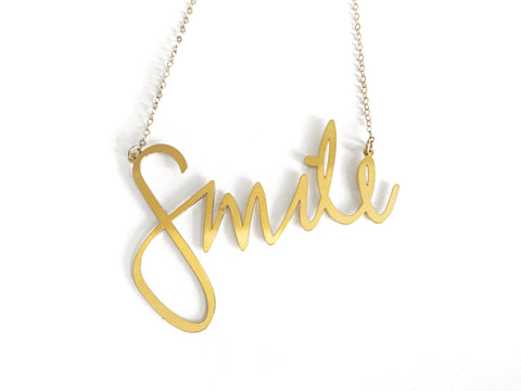 Smile - Large Necklace - Brevity Jewelry - Made in USA - Affordable Gold and Silver Jewelry