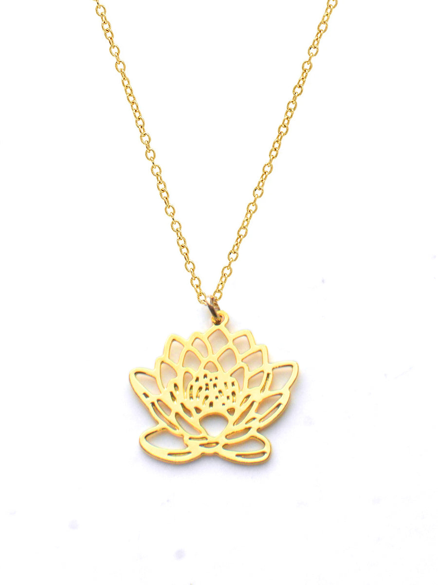 July Birth Flower Necklace - Water Lily