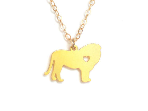 Lion Love Necklace - Brevity Jewelry - Made in USA - Affordable Gold and Silver Jewelry
