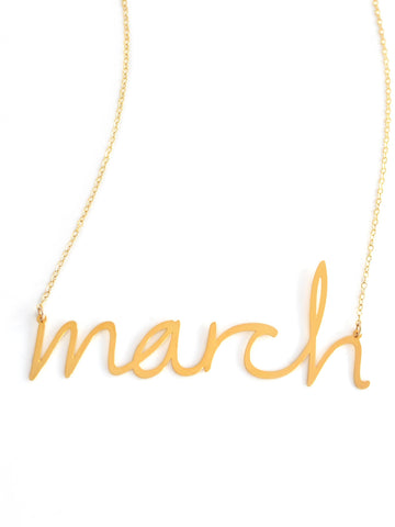 March Necklace - Brevity Jewelry - Made in USA - Affordable Gold and Silver Jewelry