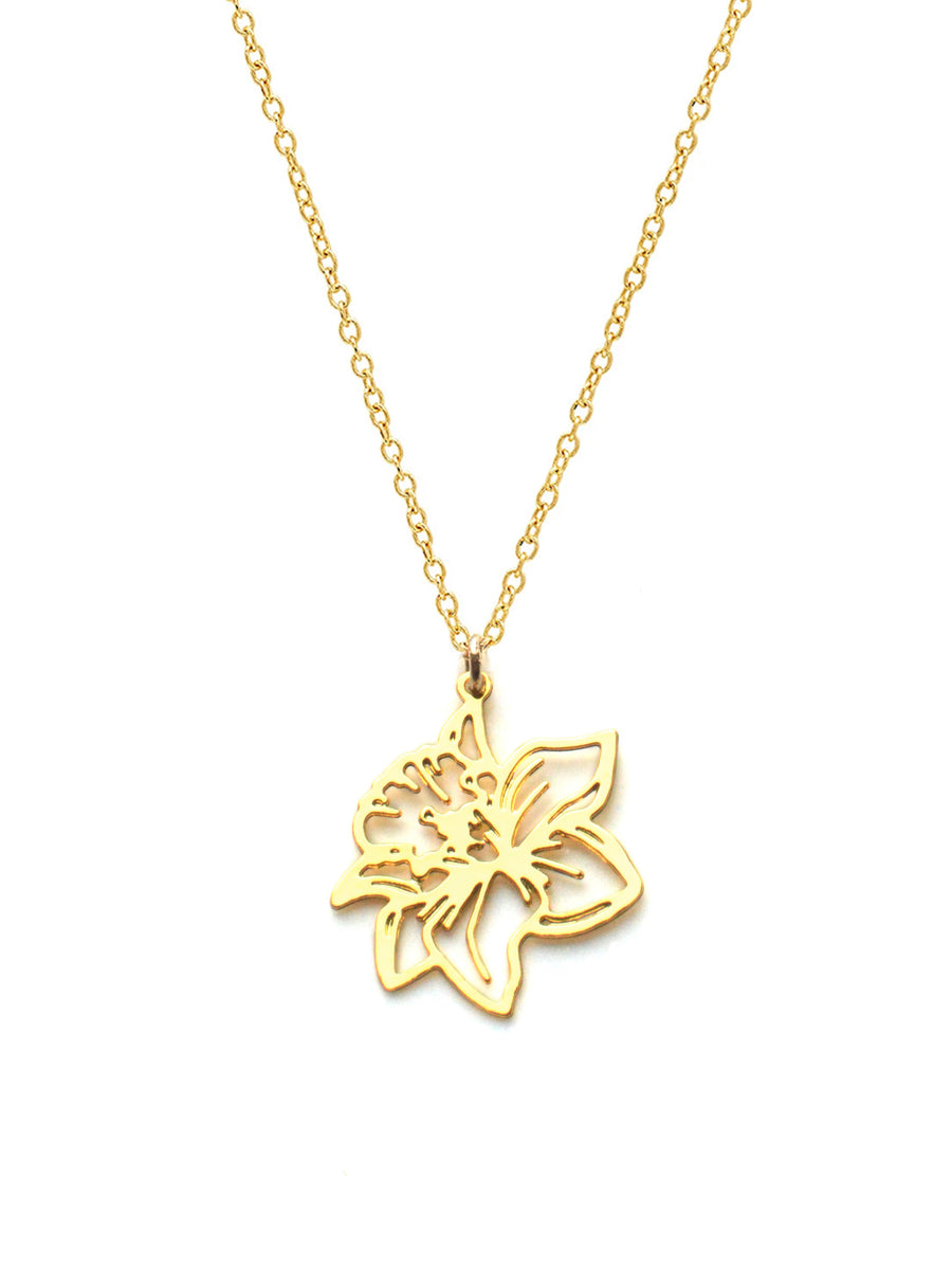 March Birth Flower Necklace - Daffodil