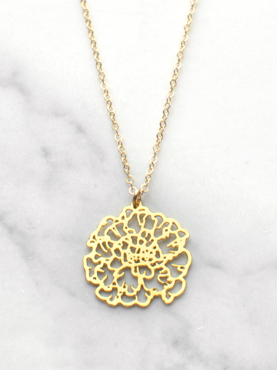 October Birth Flower Necklace - Marigold
