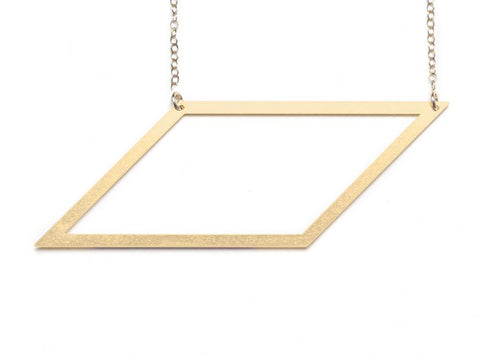 Large Parallelogram Necklace - Brevity Jewelry - Made in USA - Affordable Gold and Silver Jewelry