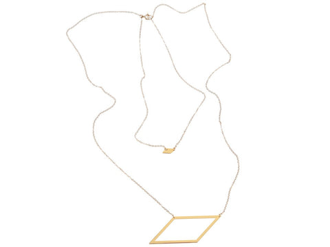 Parallelogram Pair Necklace - Brevity Jewelry - Made in USA - Affordable Gold and Silver Jewelry
