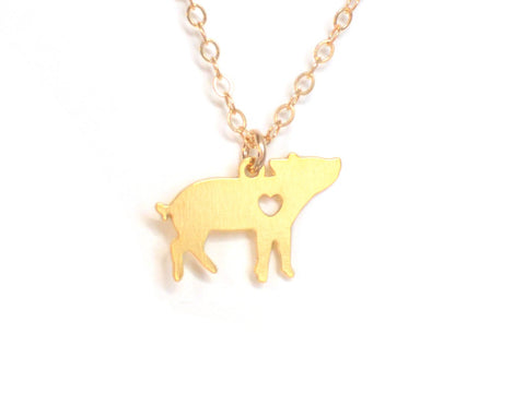 Pig Love Necklace - Brevity Jewelry - Made in USA - Affordable Gold and Silver Jewelry
