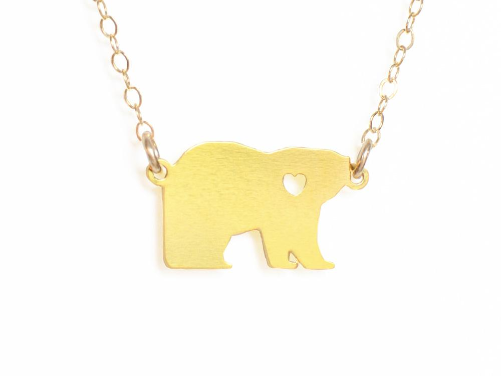 Polar Bear Love Necklace - Brevity Jewelry - Made in USA - Affordable Gold and Silver Jewelry
