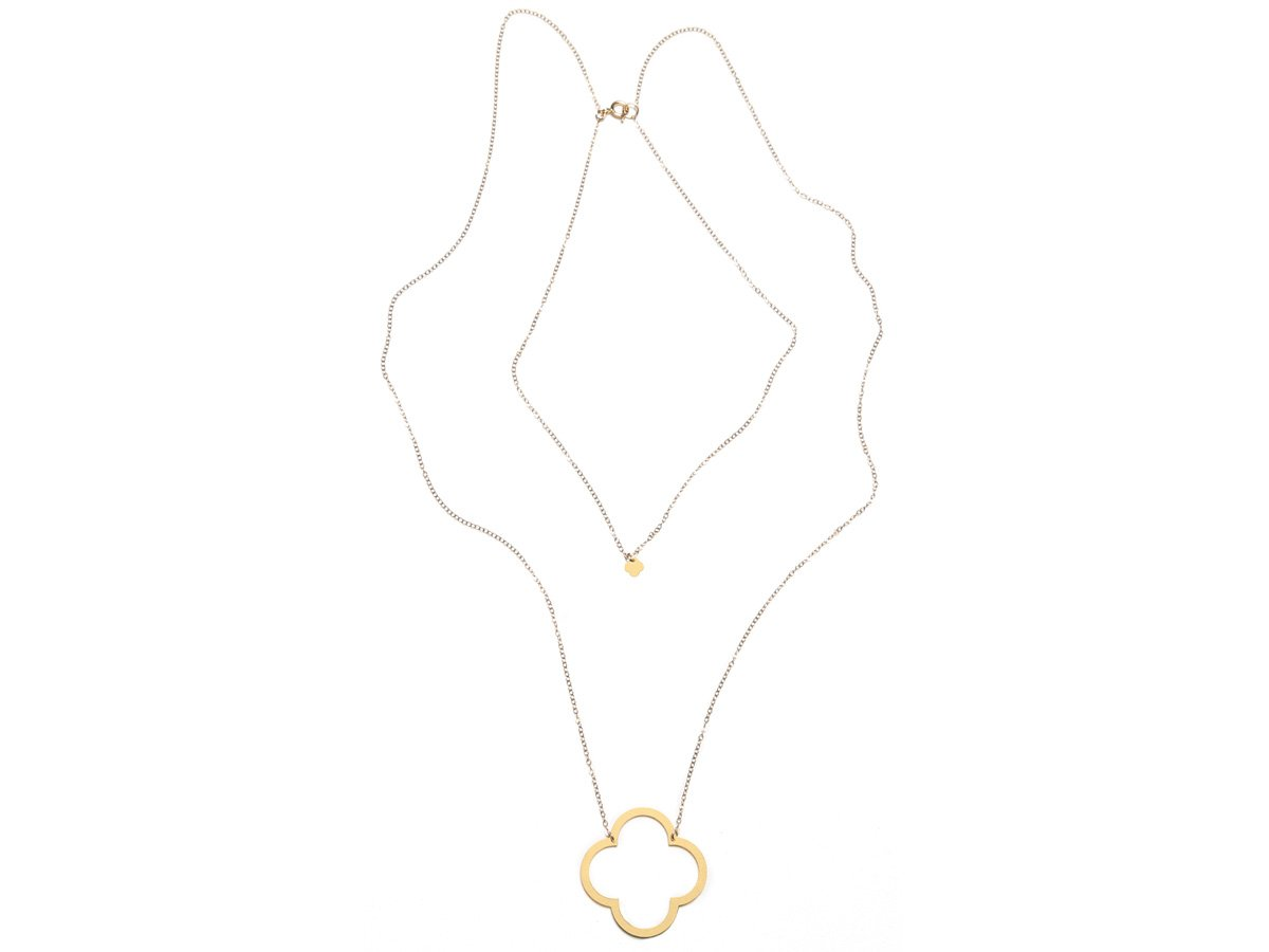 Quatrefoil Pair Necklace - Brevity Jewelry - Made in USA - Affordable Gold and Silver Jewelry