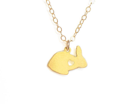 Rabbit Love Necklace - Brevity Jewelry - Made in USA - Affordable Gold and Silver Jewelry